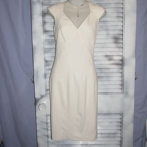 Marc NY 2P Winter White fitted cap sleeve dress